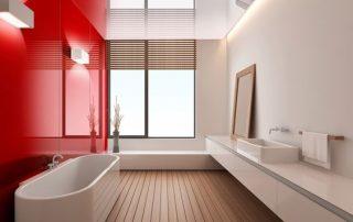 μοντερνο μπανιο με κοκκινο-τοιχο