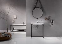 Mοντέρνο μπάνιο με στρογγυλό καθρέφτη